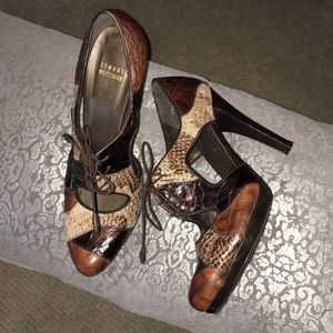 Stuart Weitzman 8-1/2M leather and snakeskin heels